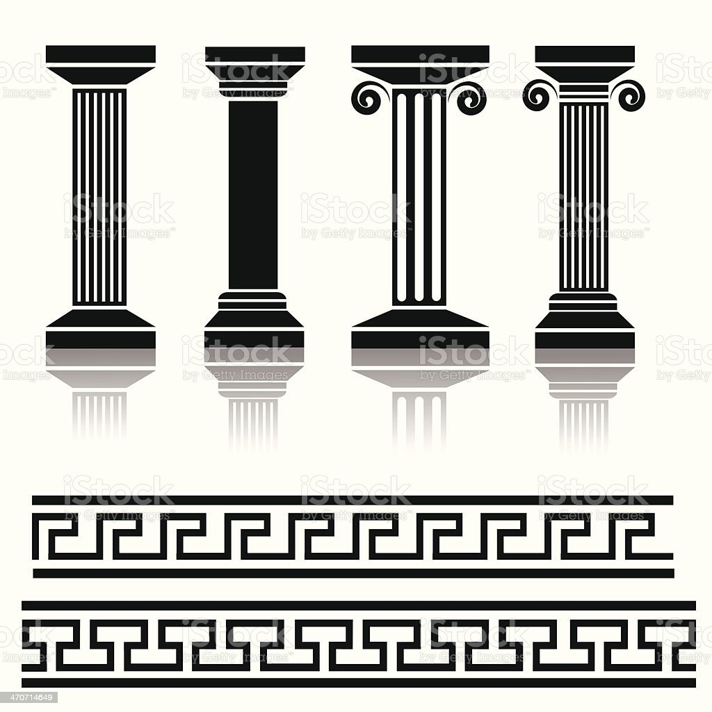ancient columns vector art illustration