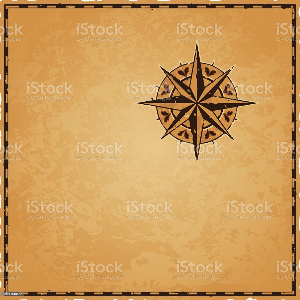 Ancient Compass Map vector art illustration
