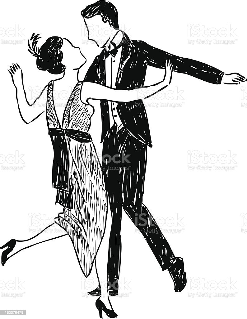 ancient dancing couple vector art illustration