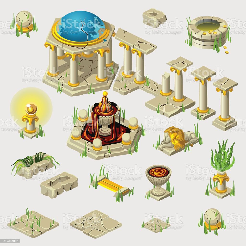 Ancient decoration, buildings, tiles, sculptures vector art illustration