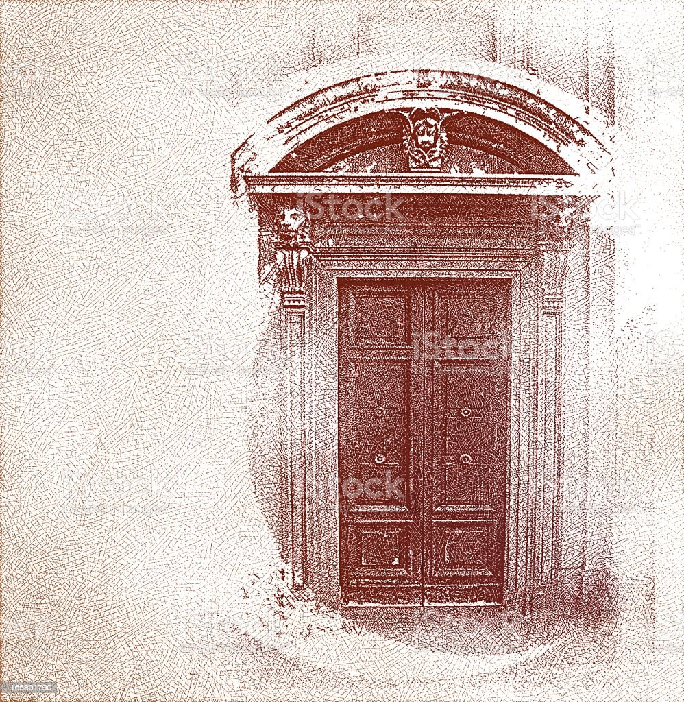 Ancient Door In Milan, Italy vector art illustration