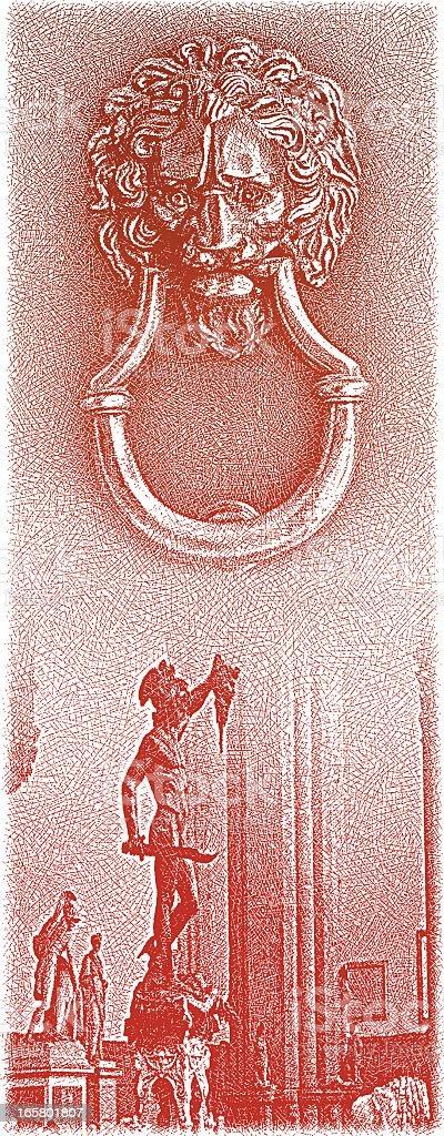 Ancient Door Knocker and Statues vector art illustration