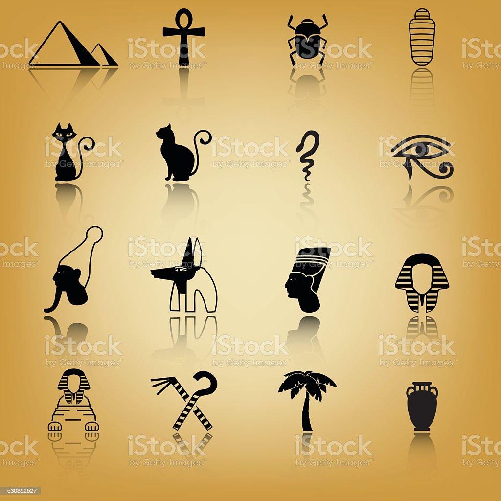Ancient Egypt icon set vector art illustration