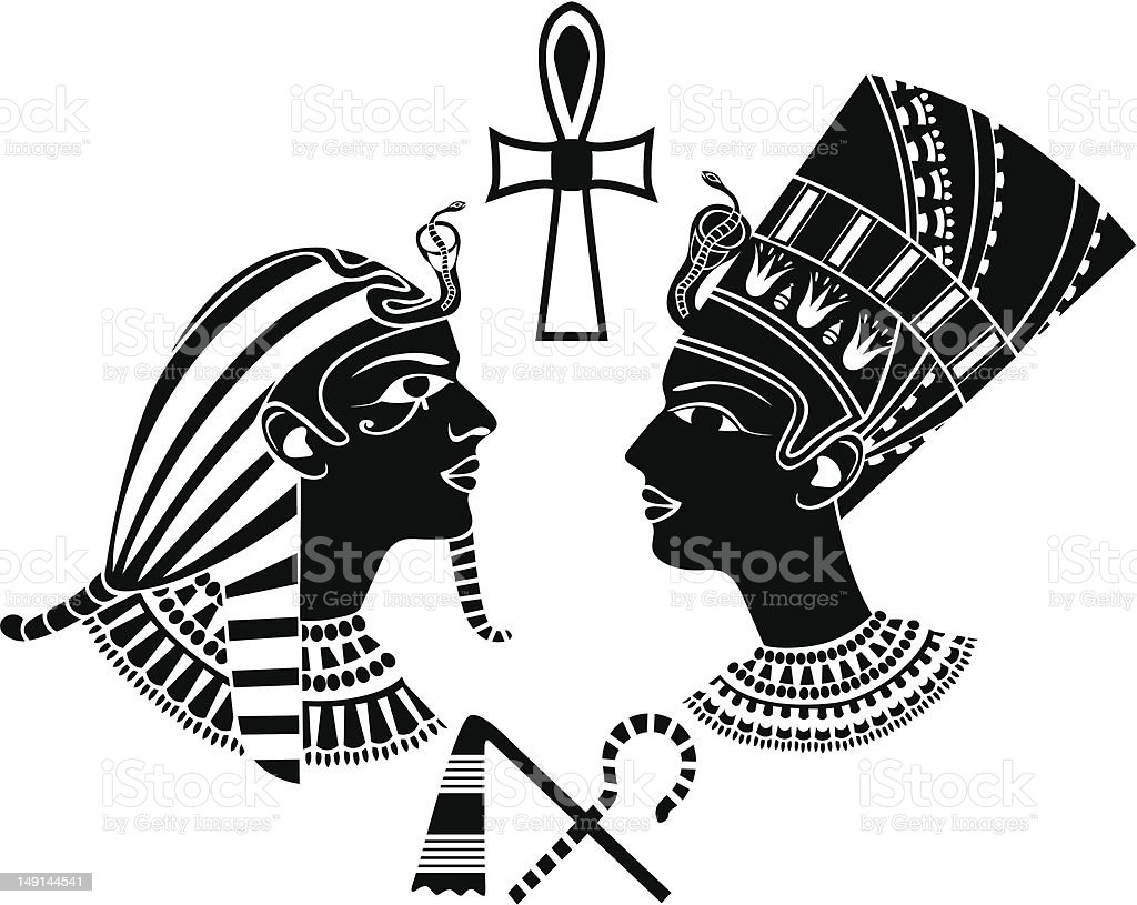ancient egypt king and queen vector art illustration