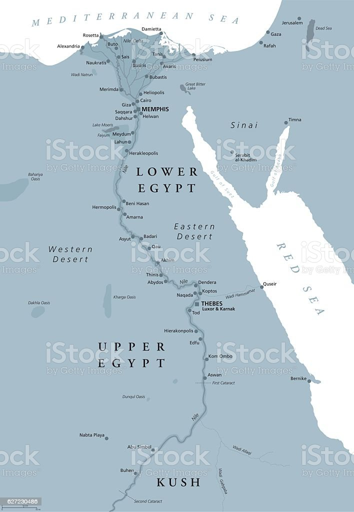 Ancient Egypt map gray colored vector art illustration