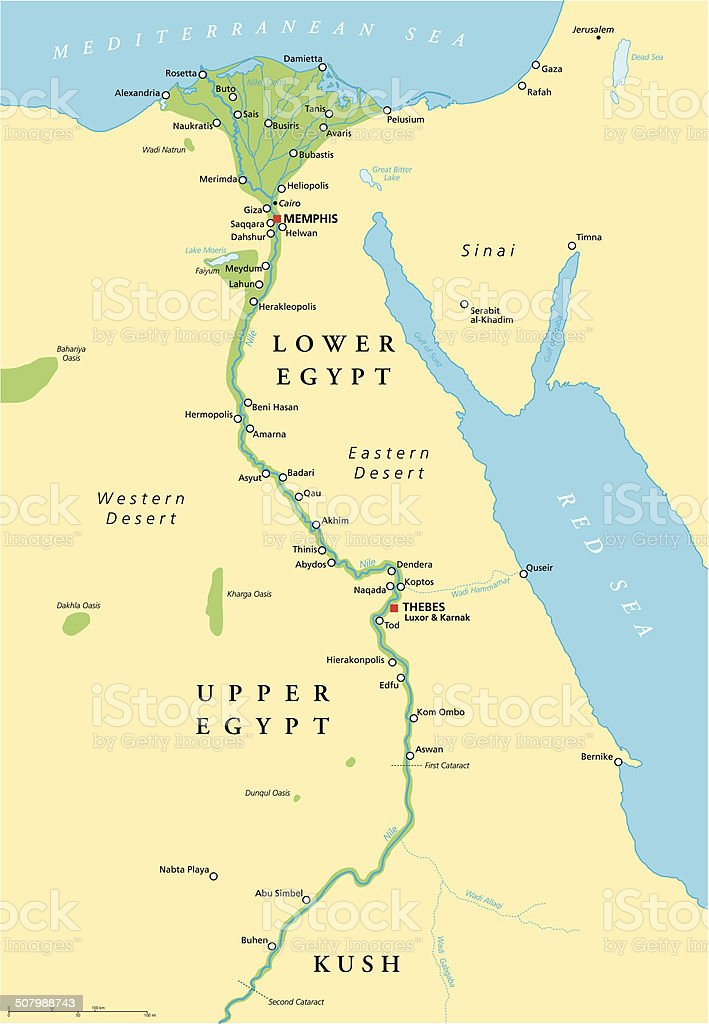 Ancient Egypt Map vector art illustration