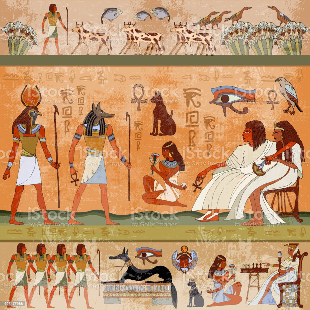 Ancient egypt scene. Murals ancient Egypt. vector art illustration