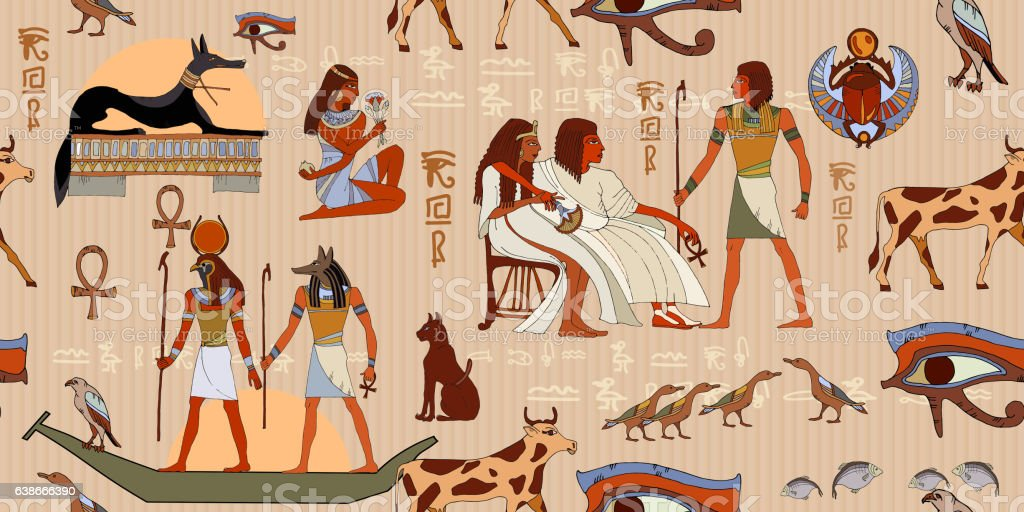 Ancient Egypt seamless pattern vector art illustration