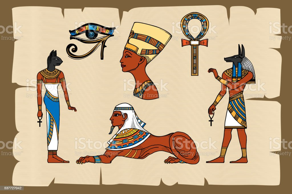 Ancient Egypt symbols on papyrus vector art illustration