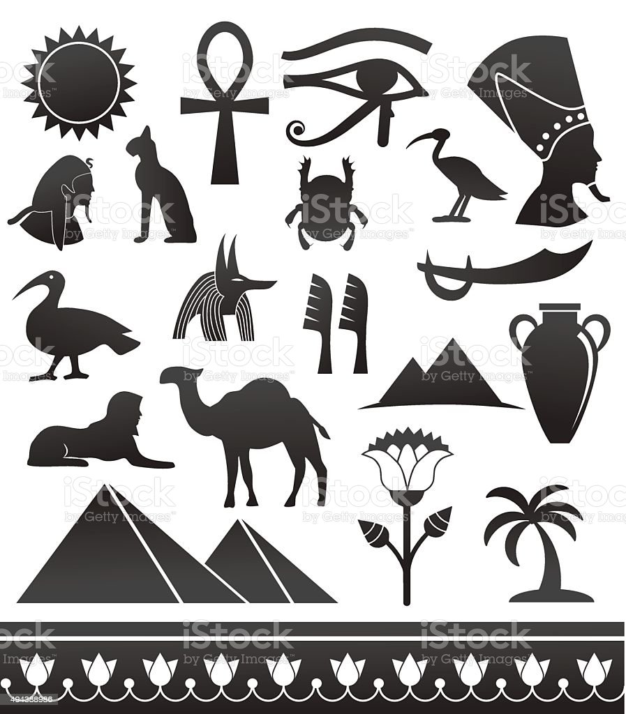 Ancient egyptian icons. vector art illustration