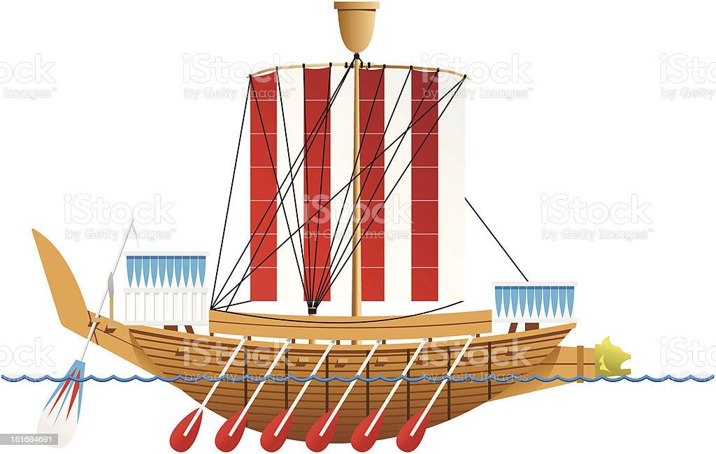 Ancient Egyptian warship. royalty-free stock vector art