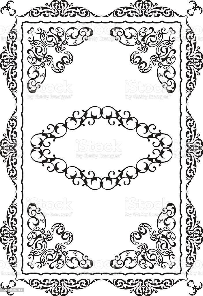 Ancient fine swirl border vector art illustration