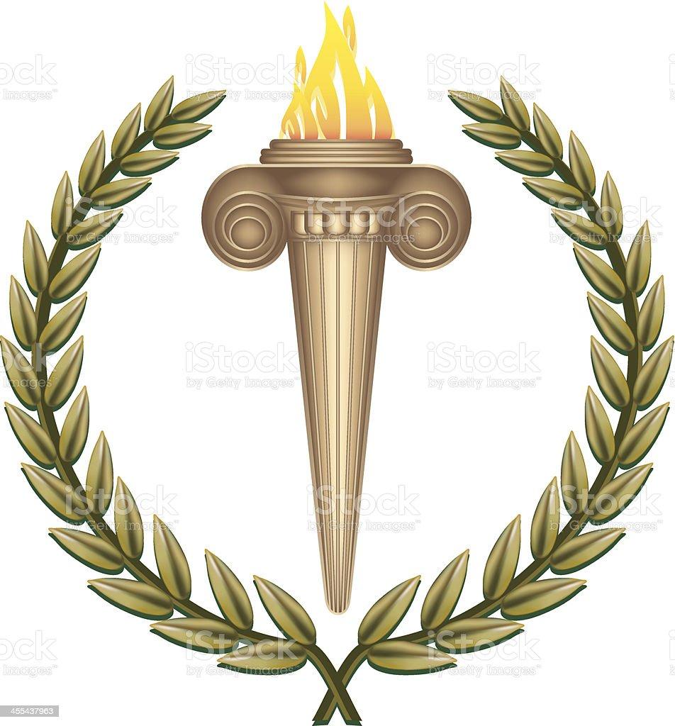 Ancient Flaming Torch royalty-free stock vector art