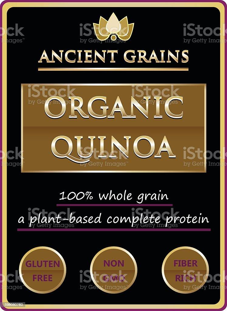 Ancient Grains Organic Quinoa Label vector art illustration
