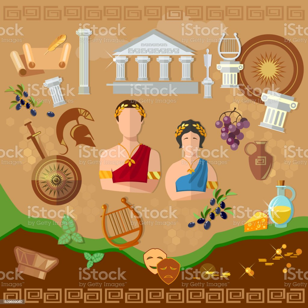 Ancient Greece Ancient Rome tradition and culture vector art illustration