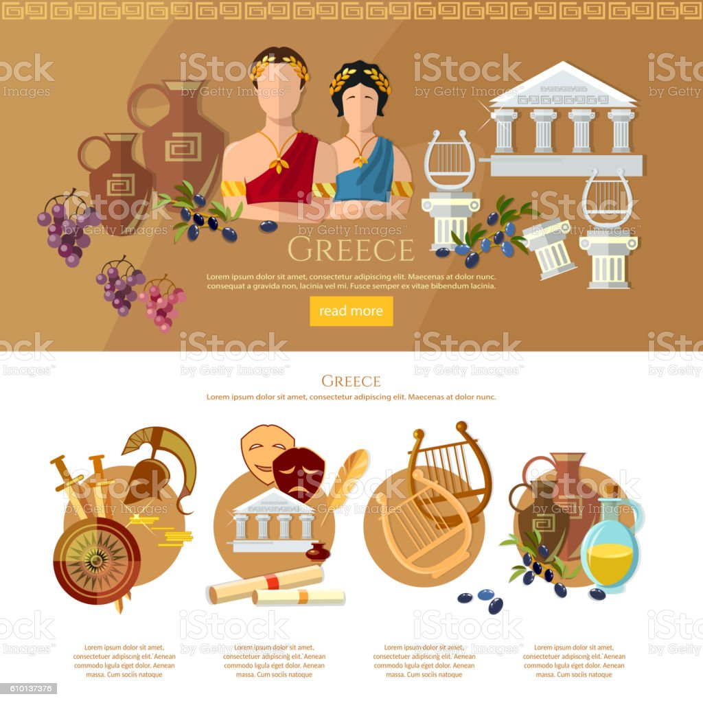Ancient Greece and Ancient Rome infographics vector art illustration