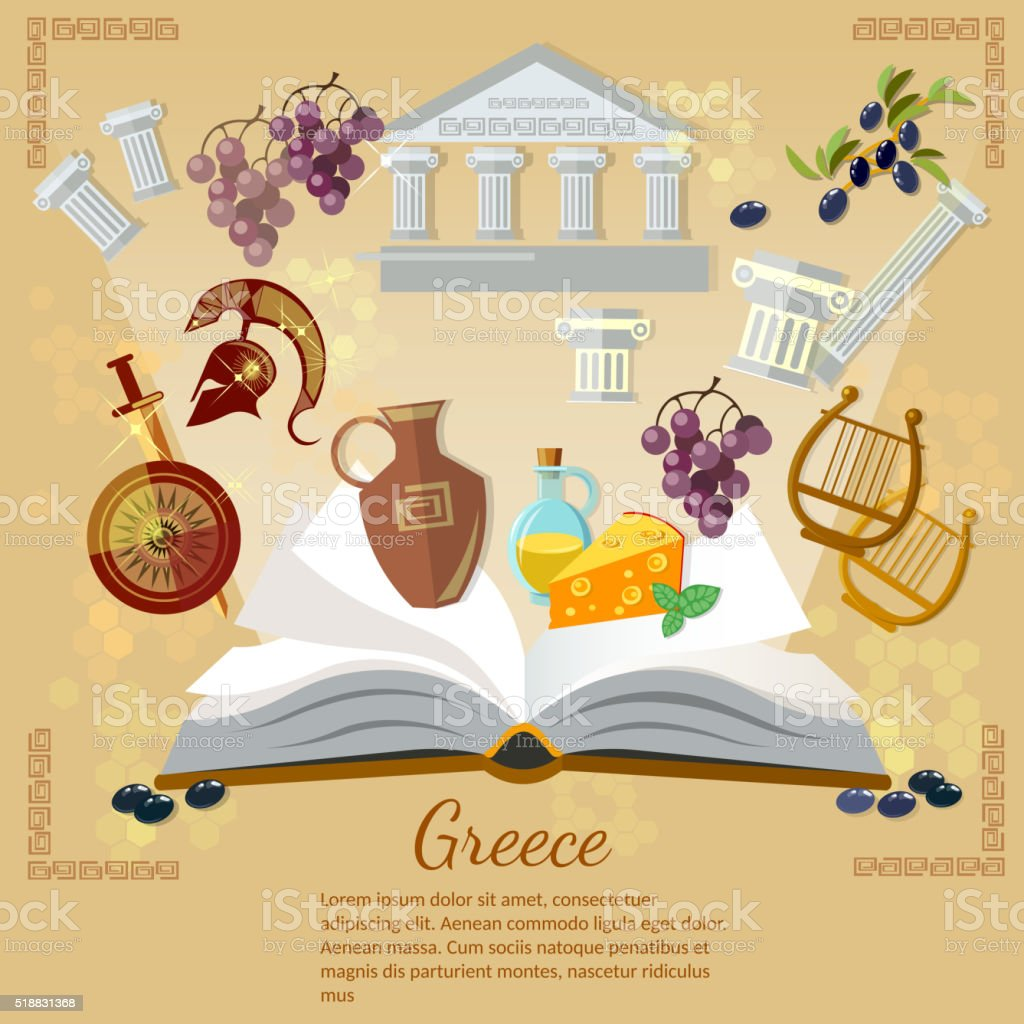 Ancient Greece and Ancient Rome world history vector art illustration