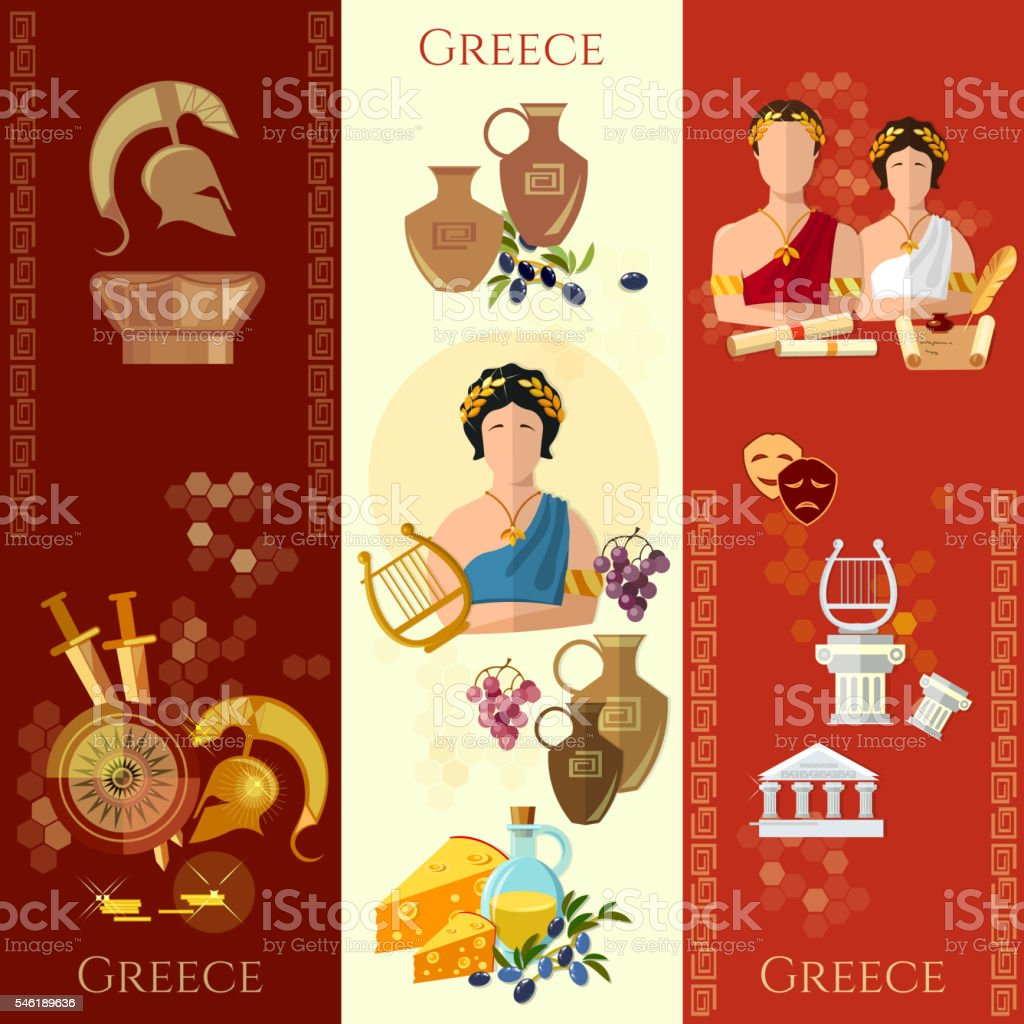 Ancient Greece and Rome banner tradition and culture vector art illustration