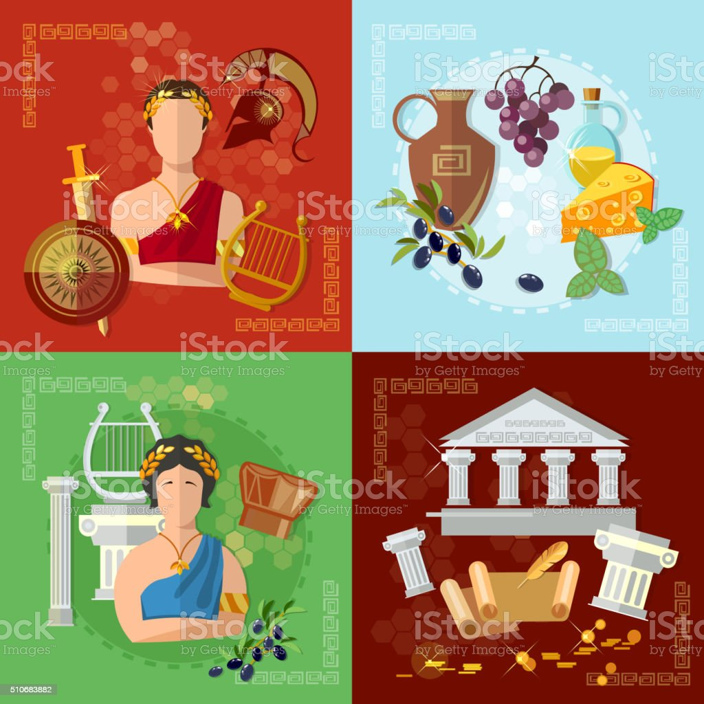 Ancient Greece and Rome tradition and culture vector set vector art illustration