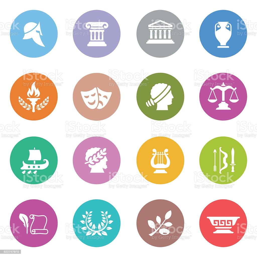 Ancient Greece Icon Set vector art illustration