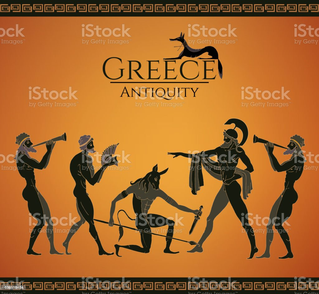 Ancient Greece scene. Hunting for a Minotaur vector art illustration