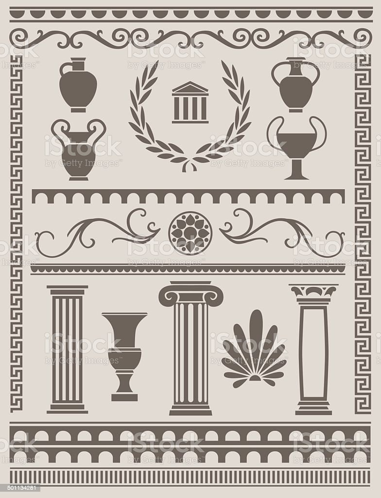 Ancient Greek and Roman Design Elements vector art illustration
