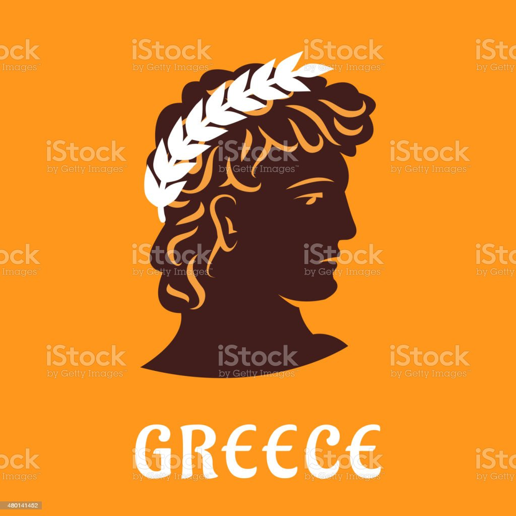 Ancient greek athlete in winner olive wreath vector art illustration