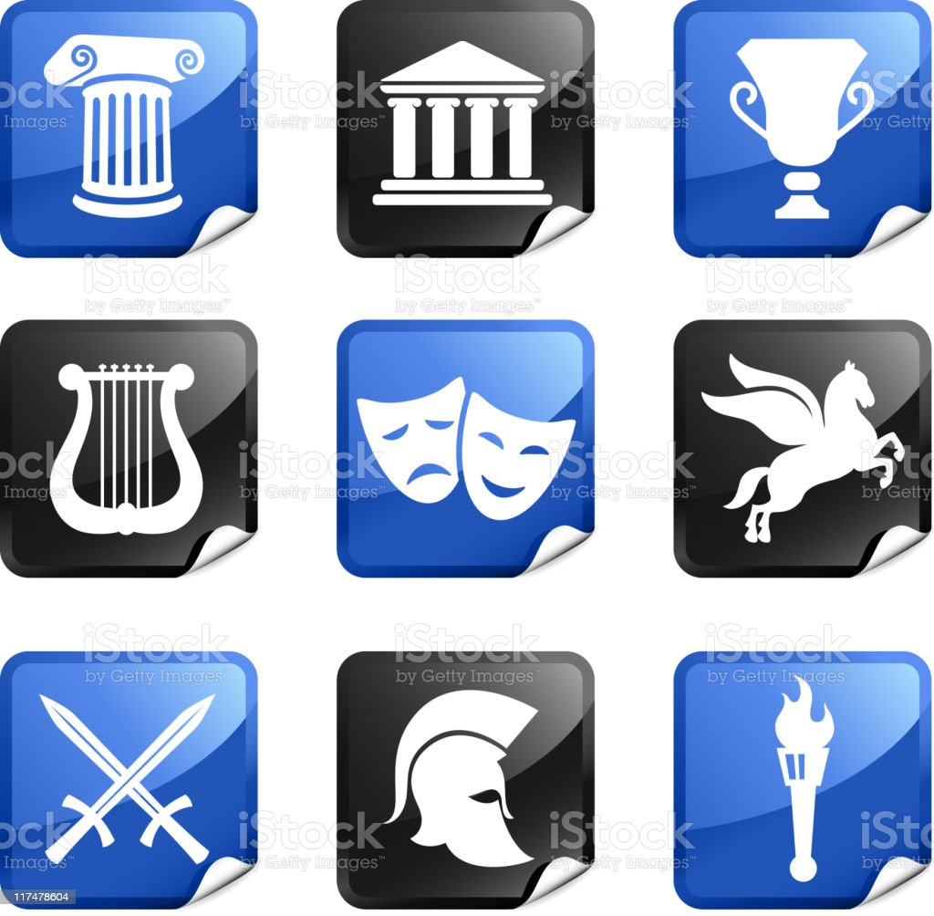Ancient Greek imagery nine royalty free vector icon set royalty-free stock vector art