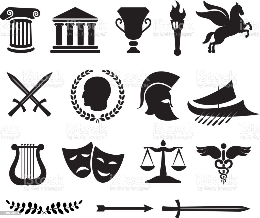 Ancient Greek imagery vector art illustration