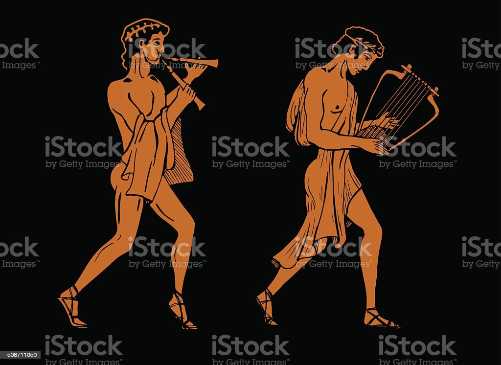 ancient Greek musicians. vector art illustration