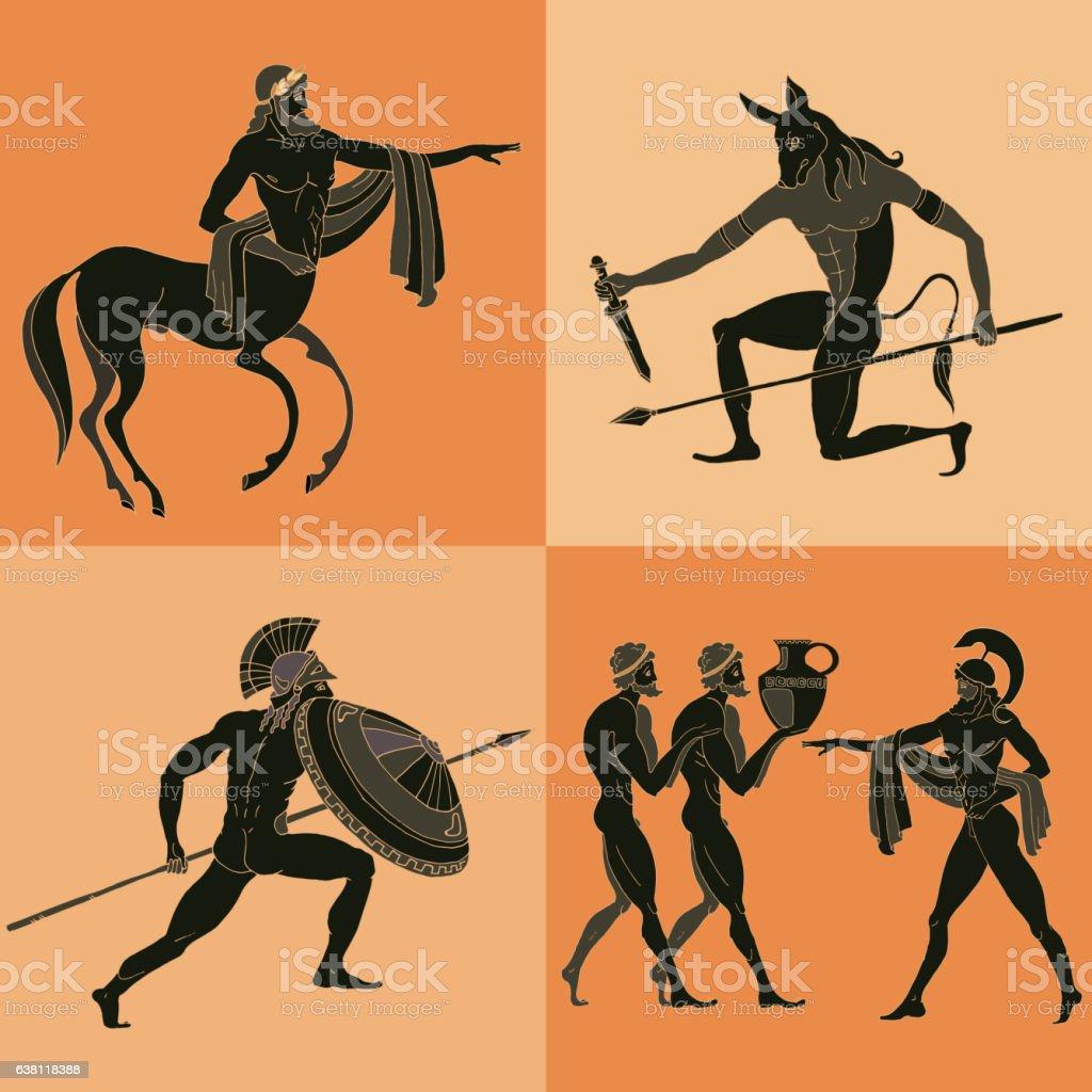 Ancient Greek mythology set. vector art illustration