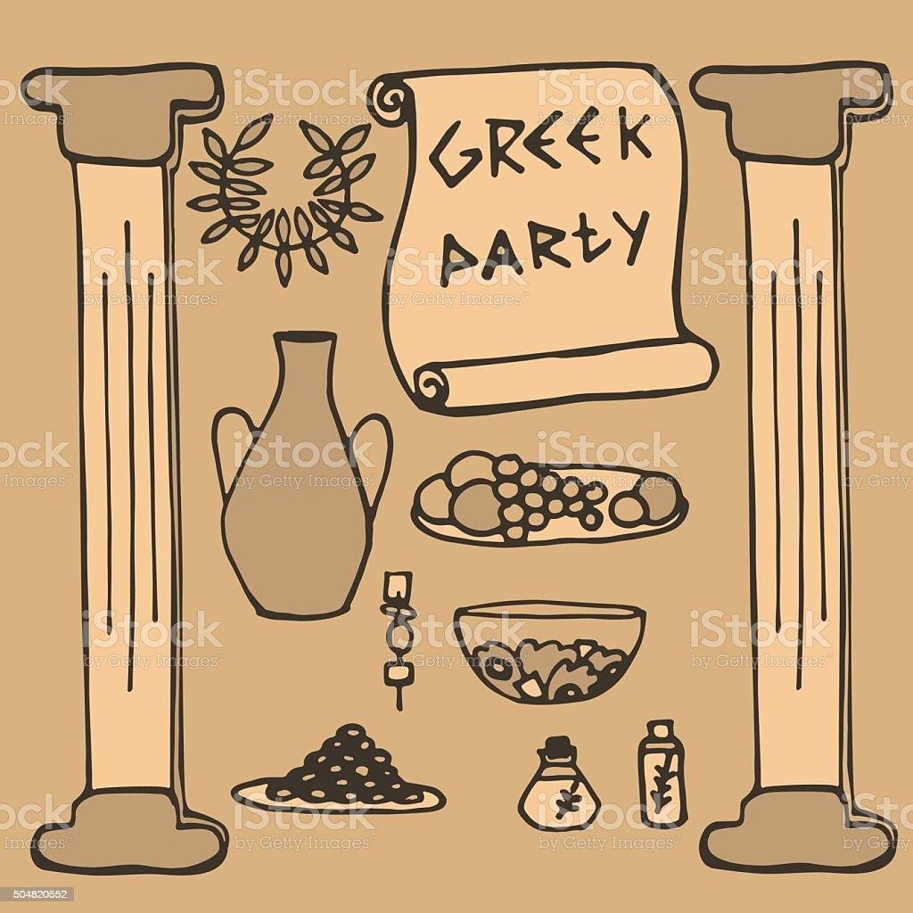 ancient greek party ideas, Greece elements vector art illustration