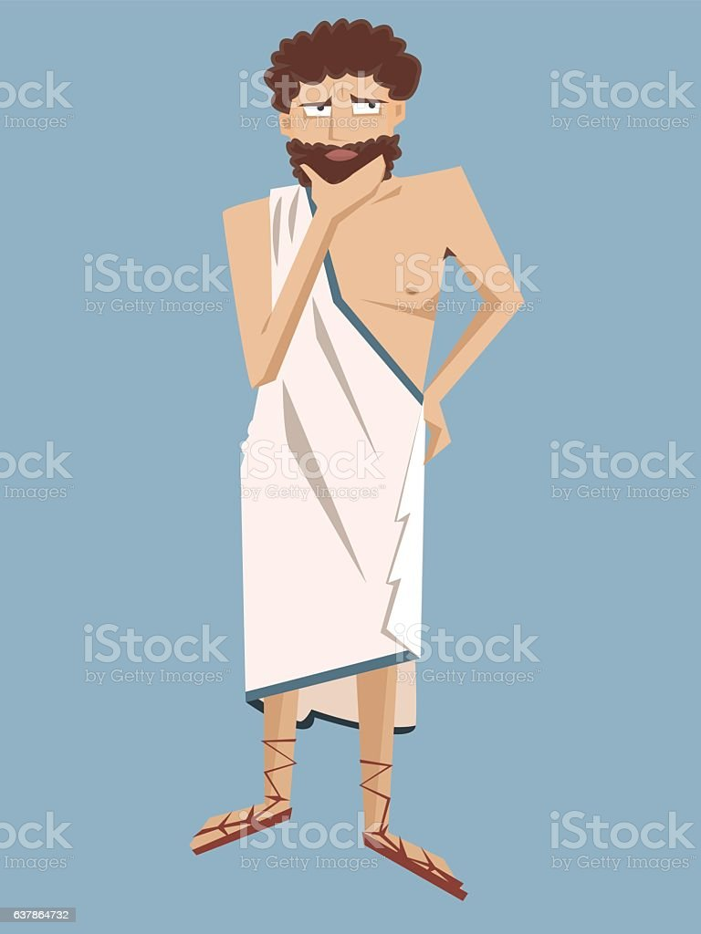 ancient greek philosopher vector cartoon vector art illustration