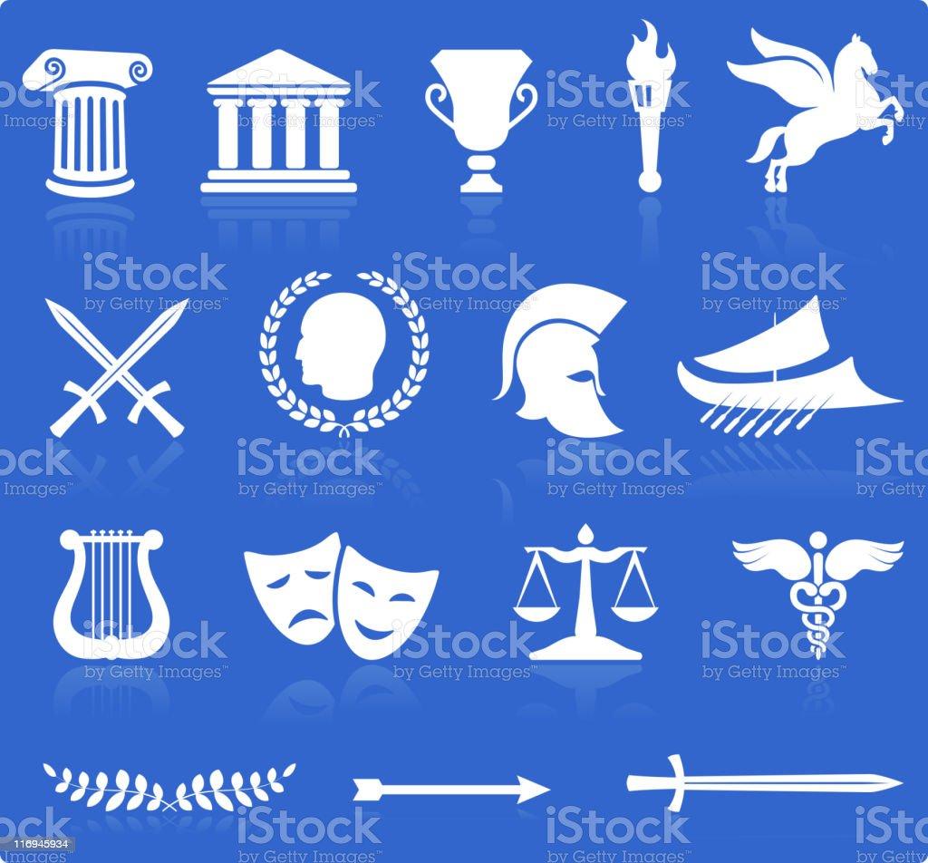 Ancient Greek royalty free vector illustration knockout white on blue vector art illustration