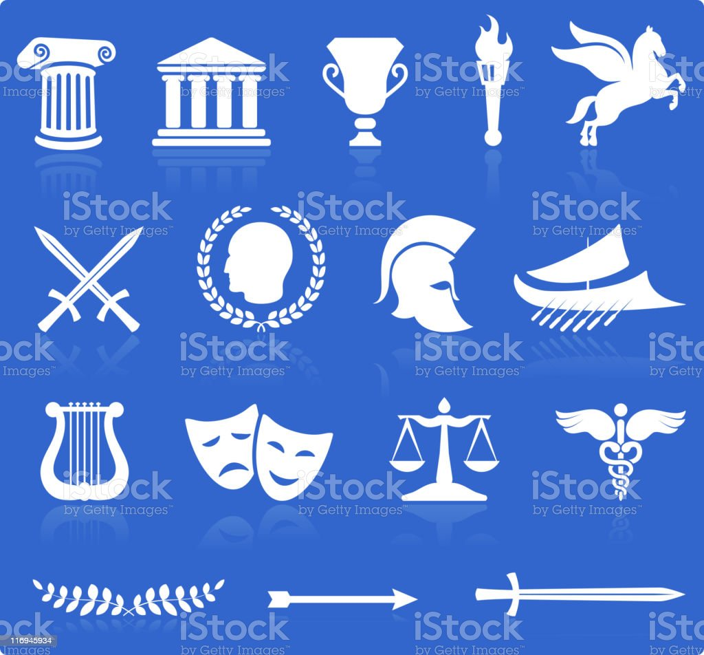 Ancient Greek royalty free vector illustration knockout white on blue vector art illustration