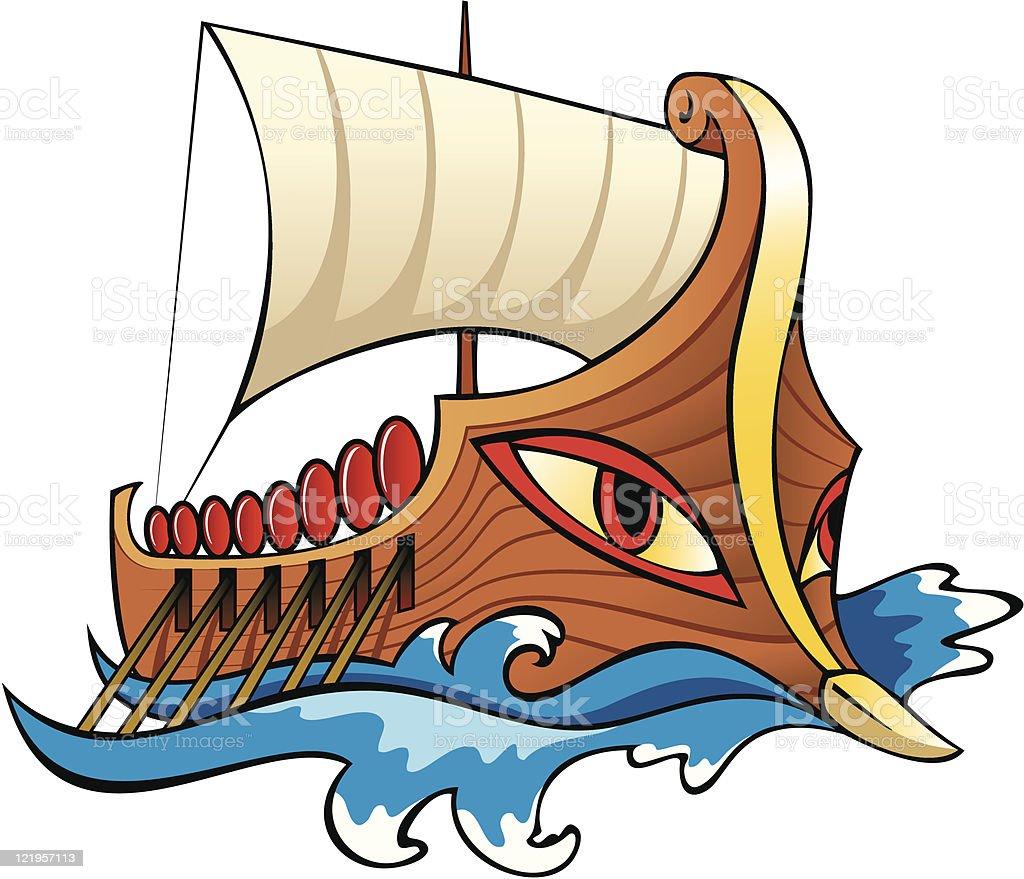 Ancient Greek ship, Argo vector art illustration