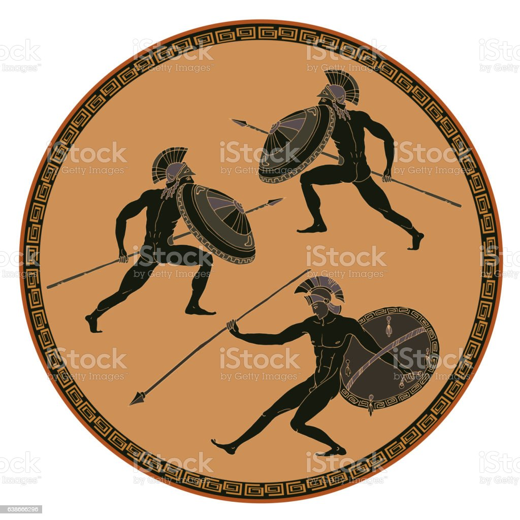 Ancient Greek soldiers. Black figure pottery vector art illustration