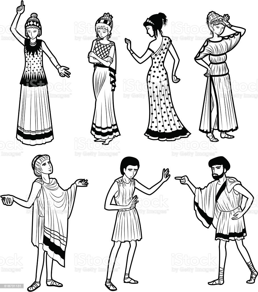 Ancient Greek tragedy characters vector art illustration