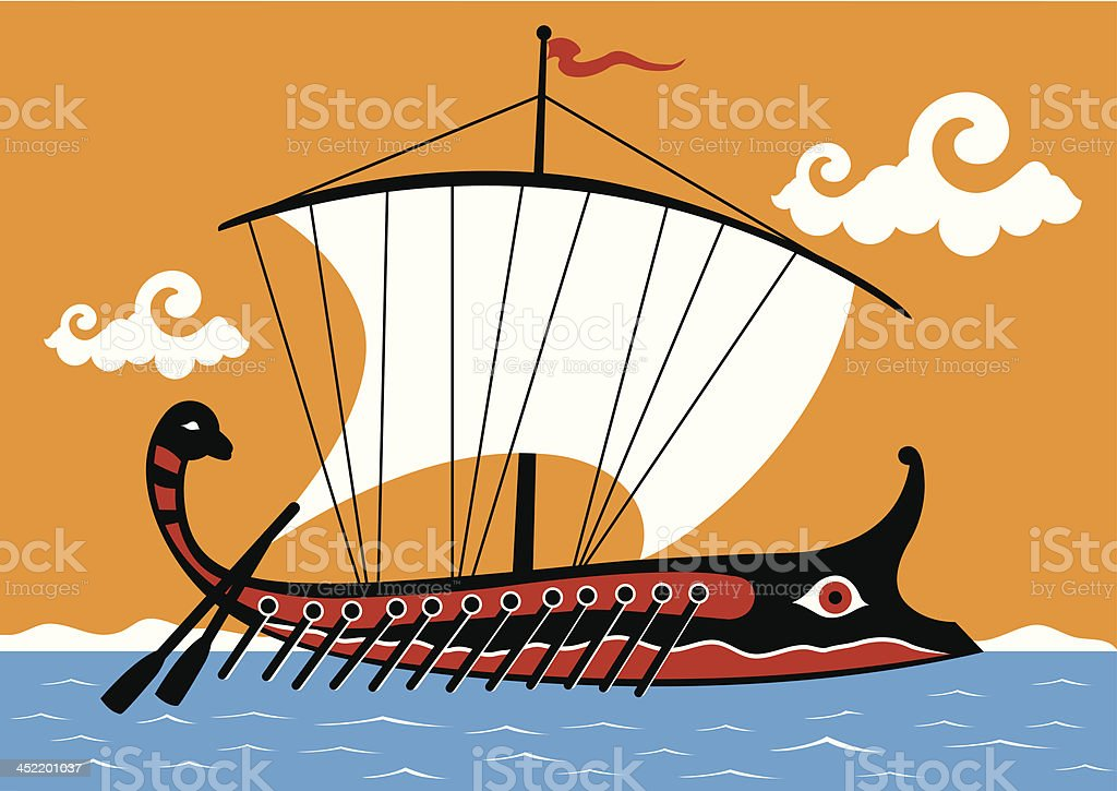 Ancient Greek trireme royalty-free stock vector art