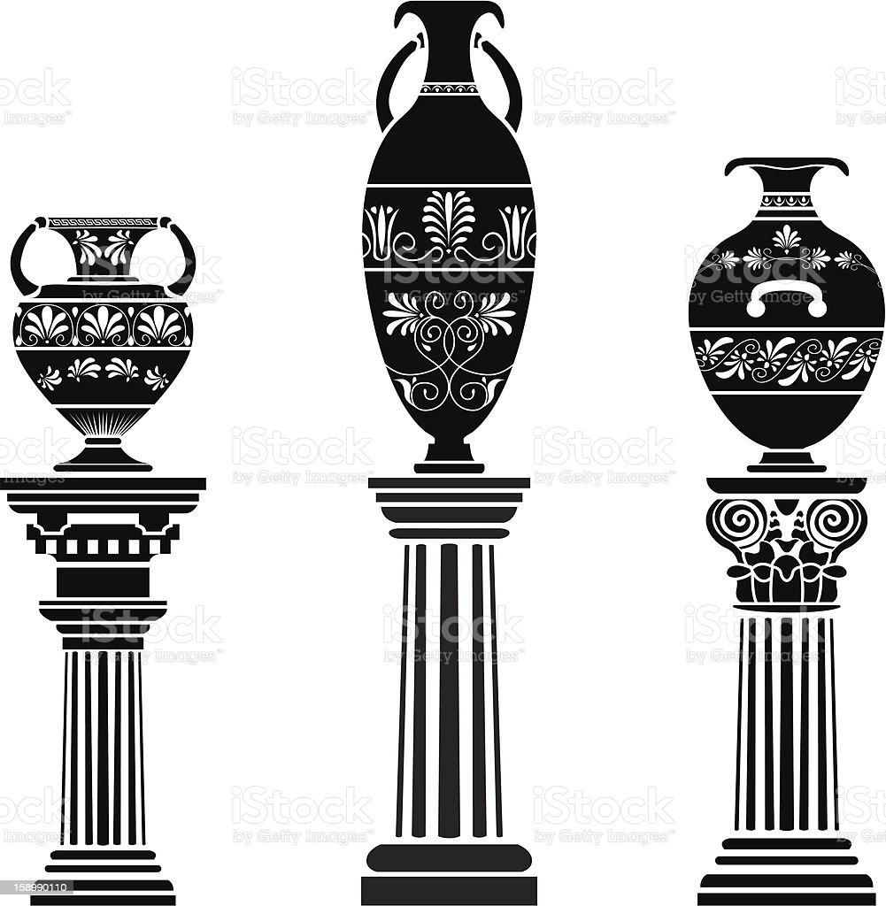 Ancient Greek vase on column royalty-free stock vector art