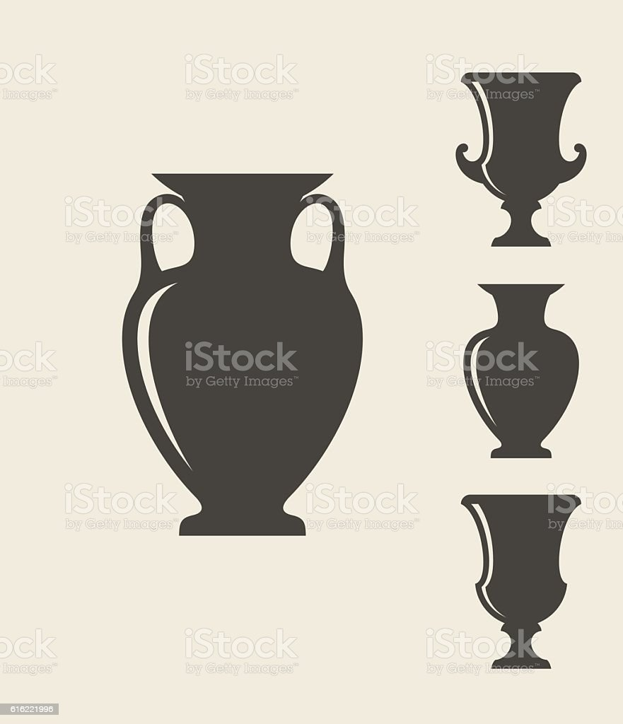 Ancient Greek vases vector art illustration