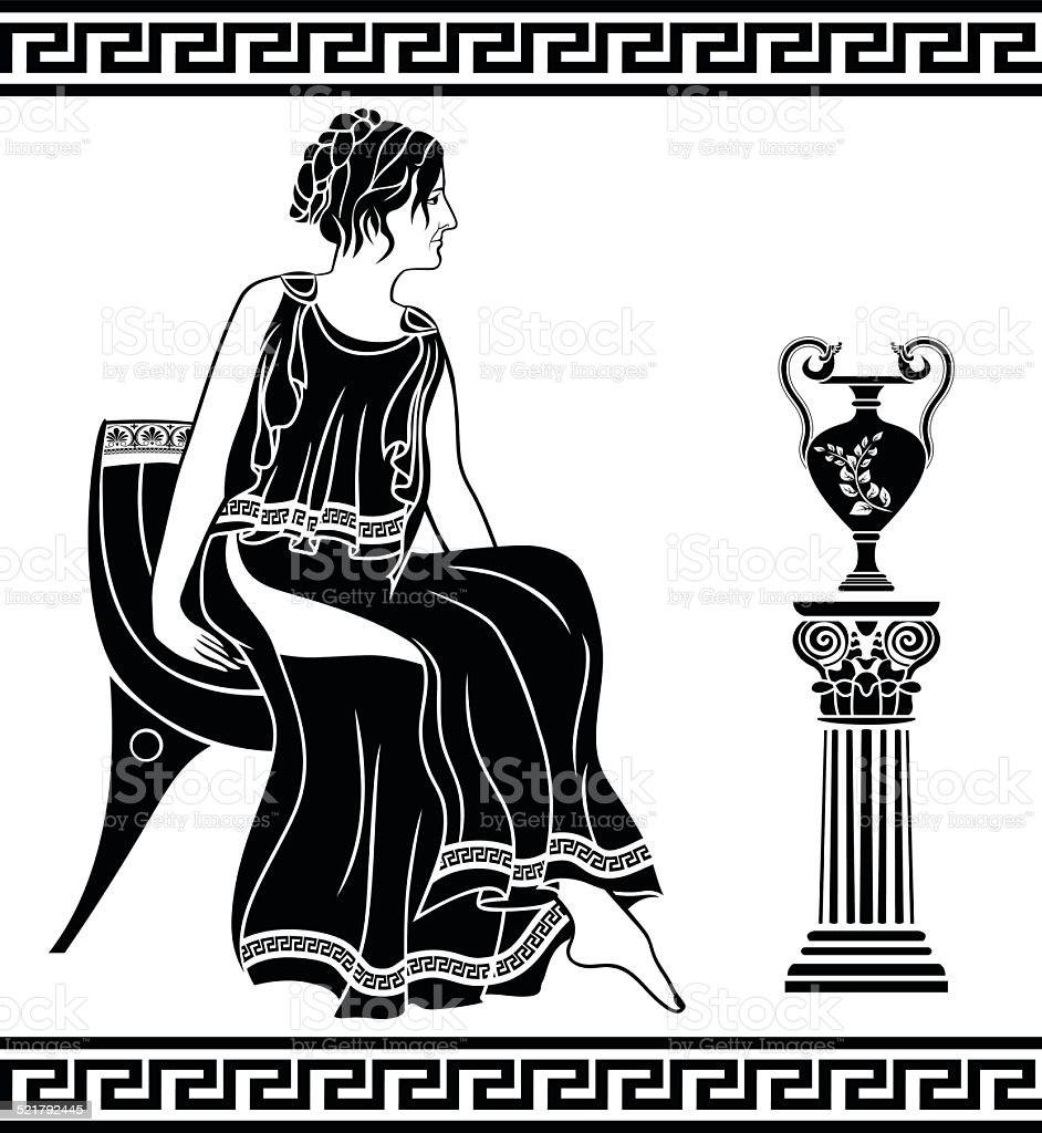 Ancient Greek woman sitting on a chair vector art illustration