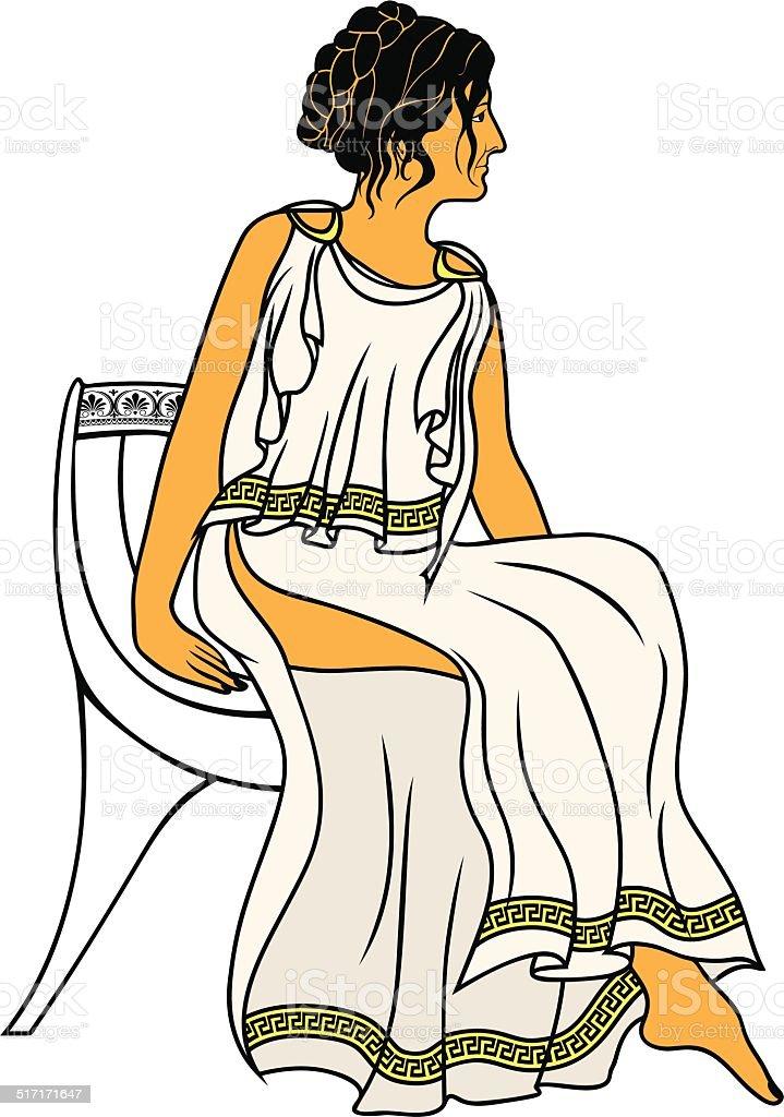 Ancient Greek woman vector art illustration