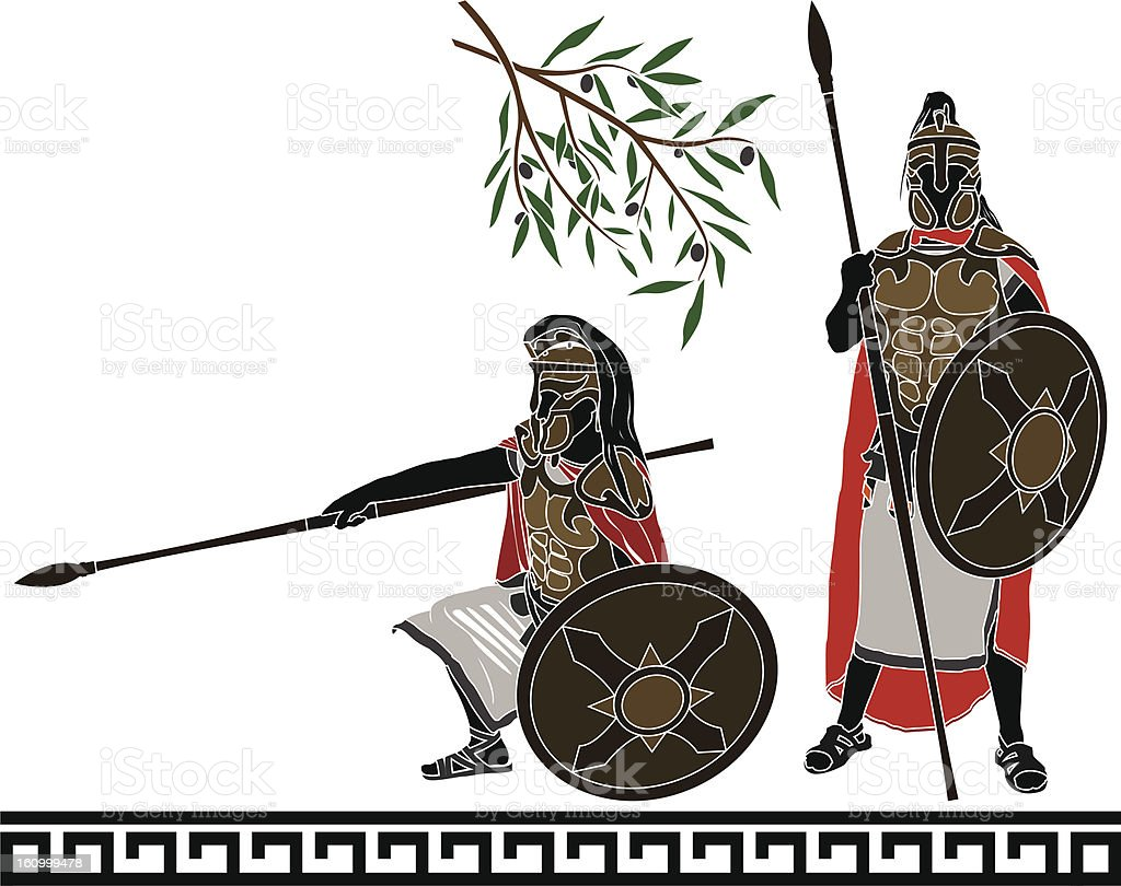 ancient hellenic warriors royalty-free stock vector art