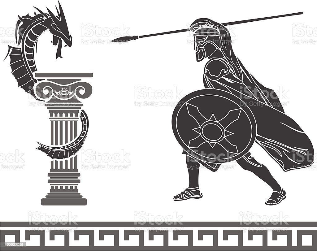 Ancient hero and dragon vector art illustration