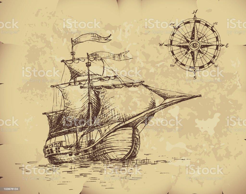 Segelschiff bleistiftzeichnung  Segelschiff Vektor Illustration 103976134 | iStock