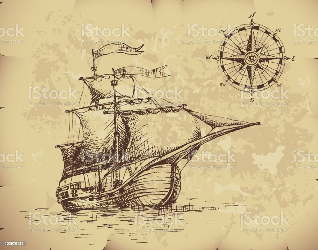 Ancient image of caravel with compass on top corner vector art illustration