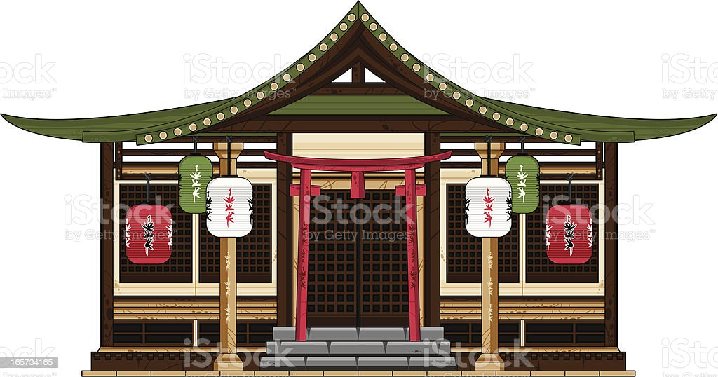 Ancient Japanese Temple royalty-free stock vector art