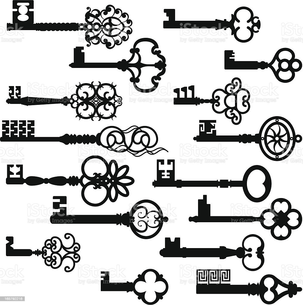 Ancient Key Set Silhouettes royalty-free stock vector art