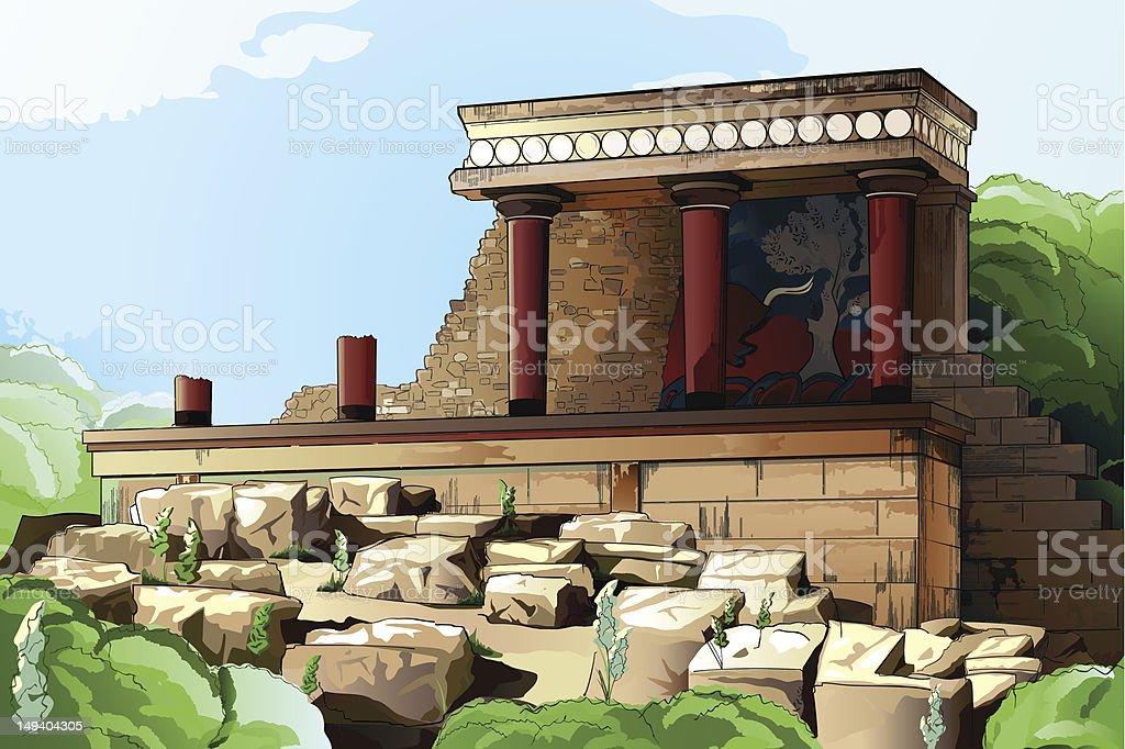 Ancient Knossos Palace. vector art illustration